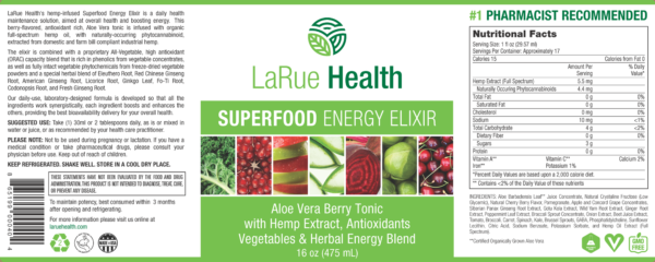 LaRue Health Energy Elixir Label