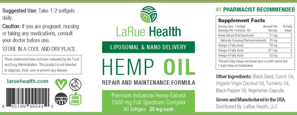 LaRue Health Hemp Oil Softgels 1500mg Label