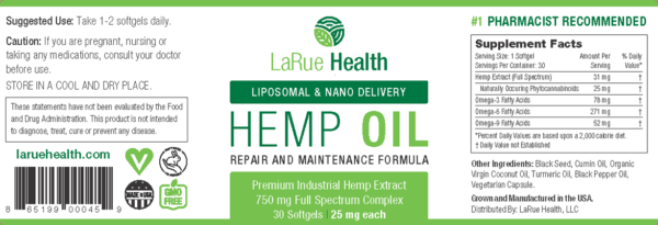 LaRue Health Hemp Oil Softgels 750mg Label