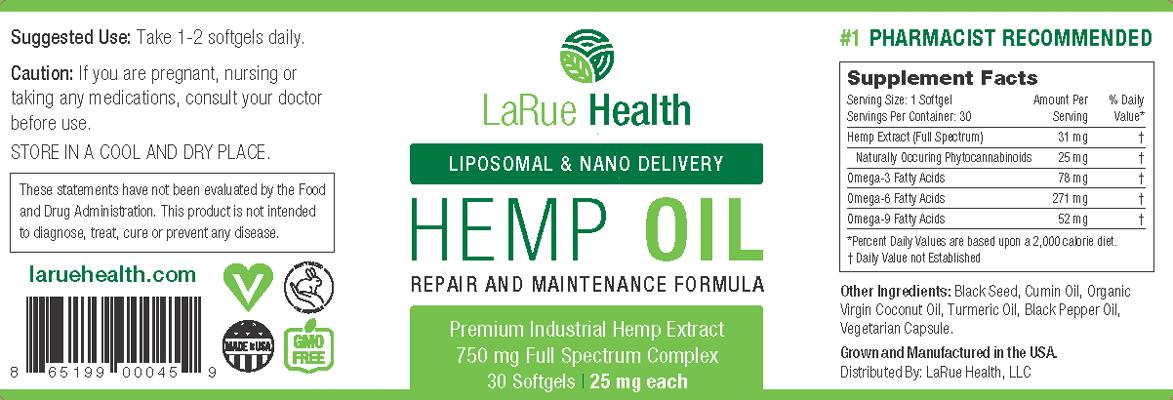 LaRue Health Hemp Oil Softgels 750mg Label