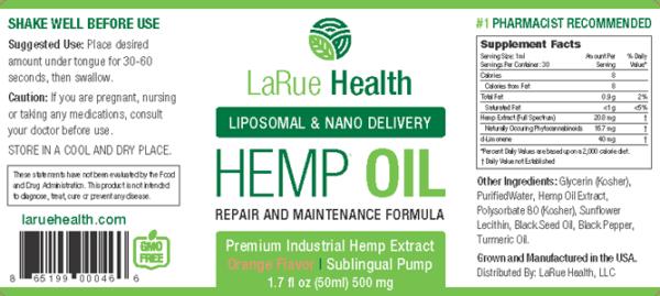 LaRue Health Hemp Oil Pump Label
