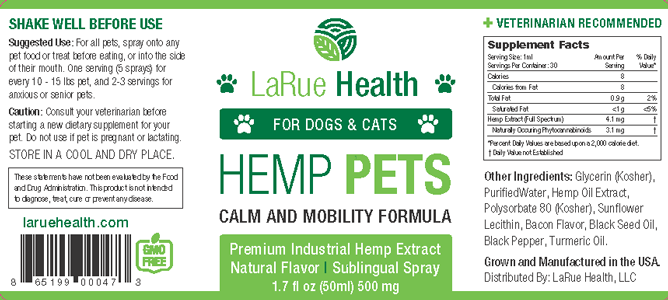 LaRue Health Hemp Oil Pet Spray Label